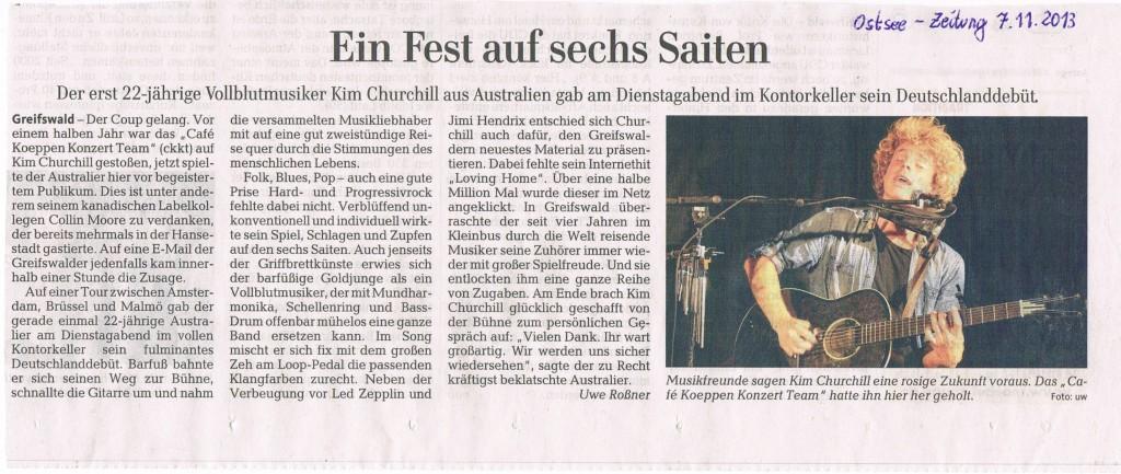 Konzertbericht Kim Churchill - Ostsee-Zeitung 7.11.2013