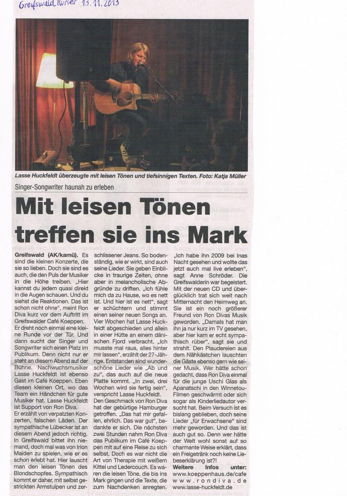 Konzertbericht Ron Diva - GreifswaldKurier 13.11.2013